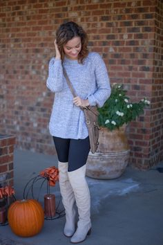 Gray Sweater // Over the Knee Boots // Mom Fashion Blogger //  Heather Brown at MyLifeWellLoved.com // Date Night Outfit //