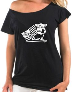 INDIVIDUELLES BORN TO RUN HIGHWAY 66 U.S.A. BOAT NECK SEXY LADIES T-SHIRT!