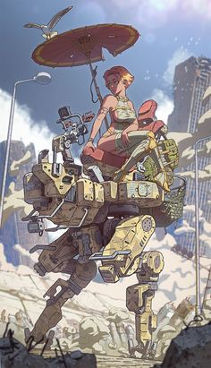 Art by Vasiliy Kovpak Sci Fi Kunst, Cyberpunk Kunst, Comic Kunst, Comic Art, Fantasy Kunst, Fantasy Art, Science Fiction Kunst, Arte Robot, Robot Concept Art