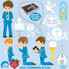 First communion.You will receive 22 high quality graphic cliparts. This wonderful set can be used for invitations, parties and more.This pack includes 12 cute first communion characters holding a bible, holding a candle as well as holding a rosary. I've also included a dove, my first communion banners and embellishments, a real rosary, cross, a first communion cake, a church window, chalice, etc $2.99
