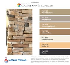 I found these colors with ColorSnap® Visualizer for iPhone by Sherwin-Williams: Dried Edamame (SW 9122), Mega Greige (SW 7031), Dromedary Camel (SW 7694), Almond Roca (SW 9105), Roman Column (SW 7562), Bellini Fizz  (SW 9008), Domino (SW 6989).