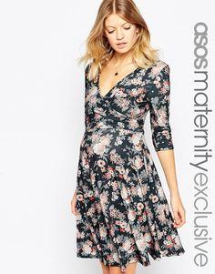 Image 1 ofASOS Maternity NURSING Floral Wrap Skater Dress