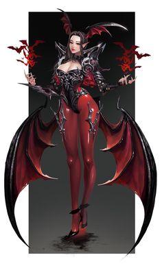 Succubus by Hyoun-Moon Fantasy Female Warrior, Fantasy Demon, Demon Art, Dark Fantasy Art, Fantasy Girl, Fantasy Artwork, Female Character Design, Character Art, Fantasy Characters