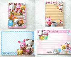 """This is cute bear memo pad! This is called """"cafe cafe"""" memo pad. There are cute baby bear plush and strawberry cake made by cotton. They are written in french and I can't explain because I can't understand...But they are so kawaii!!!!!!!!!! There are 5 different designs and about 125 sheets in total."""