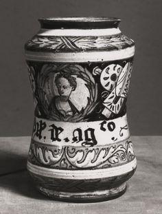 Italian, Faenza?  Albarello, c. 1550  Tin-glazed earthenware (maiolica) H. 15.6 cm (6 1/8 in.)