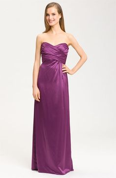 Amsale Sweetheart Neckline Cross Ruched Satin Gown available at Nordstrom