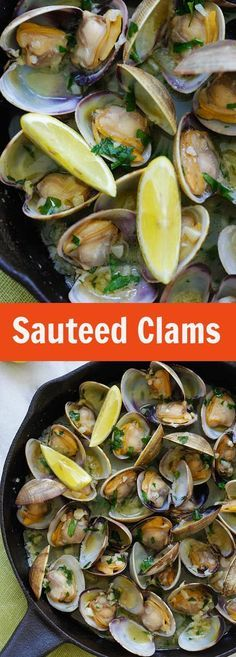 Sauteed Clams – Skillet clams with loads of garlic butter, white wine and parsley. The easiest sauteed clams recipe ever, 15 mins to make   rasamalaysia.com