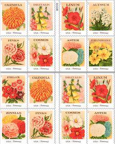 seed packet vintage stamps