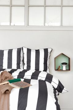 Black and White striped bed linen