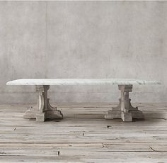 17th C. French Bastide Oak & Marble Rectangular Dining Table