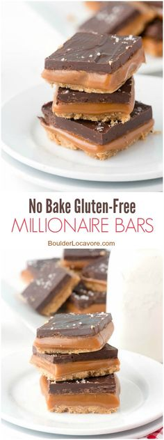 No Bake Gluten-Free Millionaire Bars. Gluten-Free Shortbread cookie layer topped with gooey caramel, chocolate and sea salt! - BoulderLocavore.com