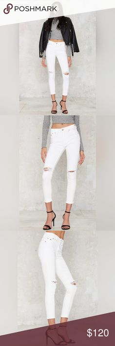 SOON // Skinny Cropped Slit Knees Coming soon. Like this to be notified // Currently retails $140 at stores. RES Denim Kitty Skinny Crop Jon Snow sold at Nasty Gal.   Kitty skinnies are made in a off-white wash and feature faux pockets at front for an even slimmer fit, slashed knees and stretch in fabric. No cuffing necessary (phew). Mid-rise skinny, premium denim, luxury hand feel, premium cotton grown in Turkey. Credit to Nasty Gal for model photos.   91.5% cotton, 6% polyester, 2.5%…