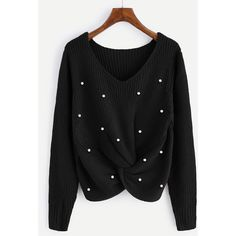 SheIn(sheinside) Pearl Beaded Detail Twist Sweater (65 BRL) ❤ liked on Polyvore featuring tops, sweaters, black, beaded top, embellished sweaters, long sleeve sweater, v neck pullover sweater and pullover sweater