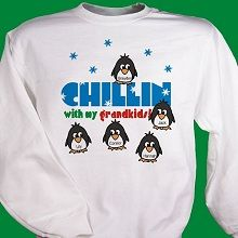 Chillin' #Penguins Personalized Winter Sweatshirts. Grandma will be stylin' in her Personalized Winter Sweatshirt showing off all her cool little penguins while visiting with close friends or shopping at the mall. Our Personalized Penguins Winter Sweatshirt is available on our premium white cotton/poly blend Sweatshirt, machine washable in adult sizes S-3XL. Includes FREE Personalization! Personalize your Grandma Sweatshirt with any title and up to 30 names.