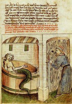 Melusine im Bade by Thüring von Ringoltingen, 1468. Germanisches Nationalmuseum Nürnberg, Germany. Illustration of Couldrette's (1401) verse novel Roman de Mélusine