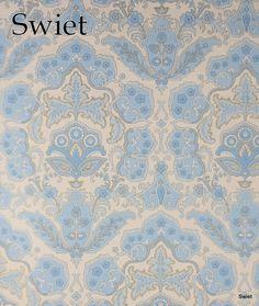 Baby blauw barok behang   Swiet