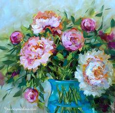 Hope Blooms Pink Peonies - Nancy Medina Art Videos and Classes, painting by artist Nancy Medina