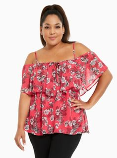 Floral Chiffon Cold Shoulder Top in Pink