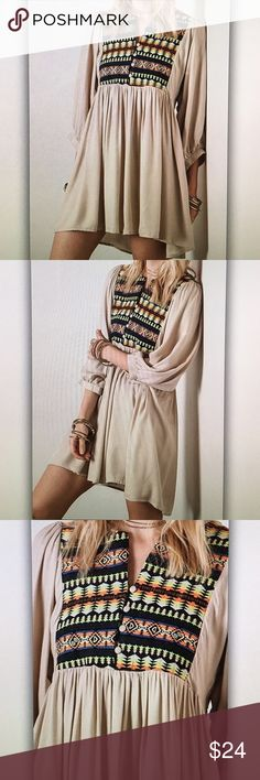Taupe tribal neon tunic blouse Comfortable and flowy! 32 in. Length Final sale item! Only a few left! Umgee Tops Blouses