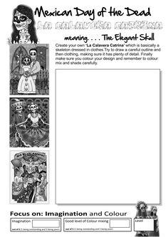 Art Worksheets for Elementary Middle School Art Projects, High School Art, Art Handouts, 7th Grade Art, Art Du Monde, Der Tot, Day Of The Dead Art, Art Worksheets, Art Curriculum