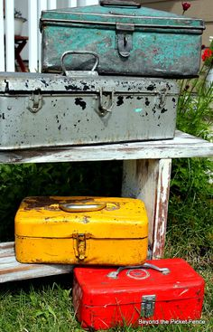 Old tool boxes...LOVE...if I can keep hubby from seeing them!