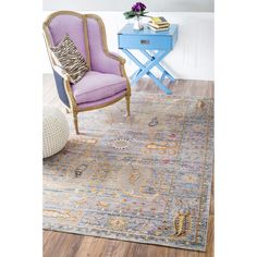 nuLOOM Traditional Vintage Fancy Floral Grey/Multi Rug (5'3 x 7'7) - Overstock Shopping - Great Deals on Nuloom 5x8 - 6x9 Rugs