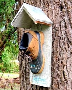 Bird House using an old shoe.....a license plate w