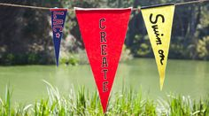 Courtney Cerruti teaches this kids crafts class and shows you two ways to make this pennant craft project for children. By cutting out customized letters and gluing them in place, or with iron-on letters and a sewing machine, these pennants can be made qu - Creativebug