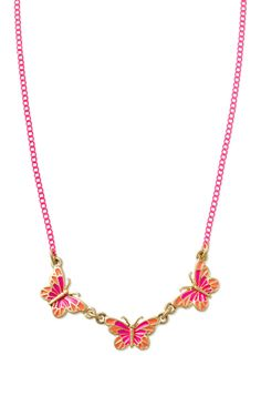 Little Girls Collection - Stella & Dot Mariposa Necklace - Girls' Pink & Orange Butterfly Necklace