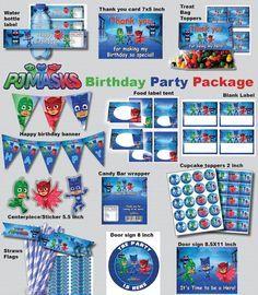 INSTANT DL- Pj Masks birthday party package kit Digital JPEG file disney junior (non personaized)