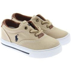 Ralph Lauren Boys Beige 'Vaughn' Lace Up Trainers ($90) ❤ liked on Polyvore