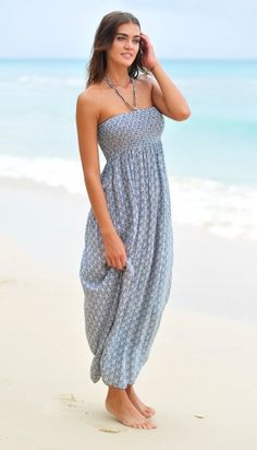 Pia Rossini Navy Aosta Maxi Dress at Coco Bay Resort Wear, Strapless Dress, Navy, Swimwear, How To Wear, Dresses, Fashion, Arms, Strapless Gown
