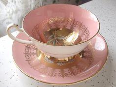 Antique pink tea cup set vintage Royal Grafton