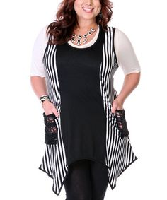Take a look at this Black & White Stripe Sleeveless Handkerchief Tunic - Plus by Aster on #zulily today!