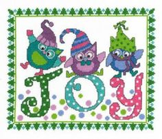 "Holiday Blues by Imaginating is a cute pattern featuring owls and the phrase ""Joy"". They are definitely some happy little owls looks like th..."
