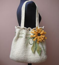 Hand crochet and felted shoulder bag.... beautiful!