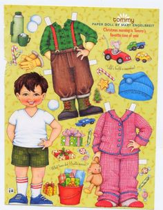 Mary Engelbreit Paper Doll, Tommy On Christmas Morning, Scrapbook, Collage