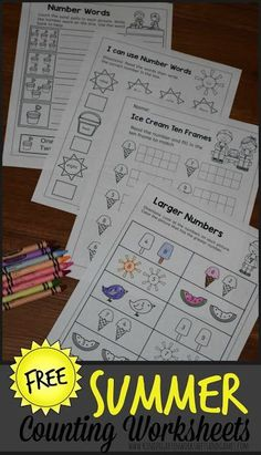 FREE Summer Kindergarten Math Worksheets - these NO PREP, free printable math worksheets are prefect for helping kids practice counting, writing numbers, writing number words, which one is bigger, number lines, ten frame, and more for preschool, prek, and kinder