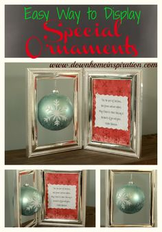 What an easy way to display a special ornament.  Perfect for an ornament exchange too!  Ornament Display - Down Home Inspiration