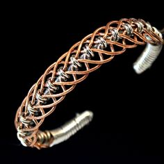 Copper bracelet woven with 16ga stainless and 16ga jewelry grade copper wire. Handmade jewelry