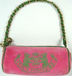Juicy Couture Vtg Women Handbag Pink Brass Accents Leather Trim.  TTT 114. #JuicyCouture #EveningBag