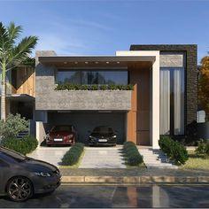 Ideas for house plans affordable master suite Modern Villa Design, Modern Exterior House Designs, Dream House Exterior, Modern House Facades, Modern Architecture House, Architecture Design, Bungalow House Design, House Front Design, Contemporary House Plans