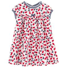 Cotton poplin High waist dress Flared hem Crew neck Raglan short sleeves Ribbed knit trims Gather detail on the chest Matching knickers Snap buttons in the back Elastic waistband Elastic bands on the thighs Fancy bow Fancy print Patterns can be placed randomly on each dress - 65,00 €