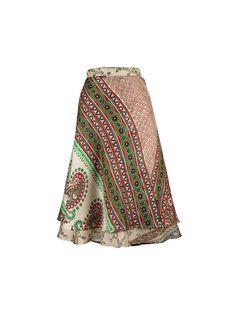 068c113e54e9 Silk Wrap Skirt**On Sale**, Boho Skirt, Green Skirt, Sari Skirt, White  Printed Skirt, Reversible Skirt, Summer Skirt, Gypsy Skirt, Silks