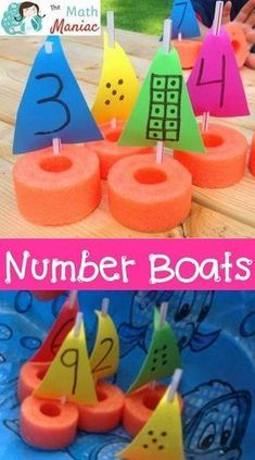 A fun and inexpensive way to work on number recognition, subitizing and other early numeracy skills. Number boats are inexpensive to make and fun for kids! Use them in summer school, at home or in the bathtub! Great for preschool and kindergarten stude Beach Theme Preschool, Transportation Theme Preschool, Preschool Math, Toddler Activities, Activities For Kids, Crafts For Kids, Summer Preschool Themes, Water Crafts Preschool, Boat Crafts