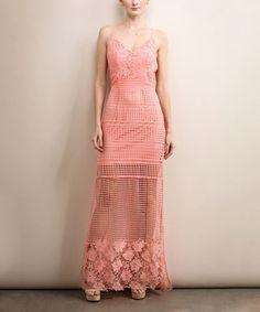 Peach Lace-Overlay Back-Cutout Maxi Dress