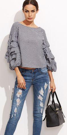 Black Gingham Billow Sleeve Top