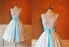 R E S E R V E D 1950s Dress - Vintage 50s Dress - White Lace Chiffon Wedding Cocktail Party Dress S - Your Blue Eyed Babe