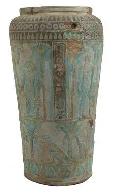 Faience situla -Tarquinia - Museo - Situla in Faience con Cartiglio del Faraone Bocchoris