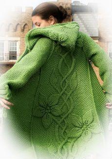 Fantástico saco con capucha tejido con dos agujas - patrones | Patrones de tejido